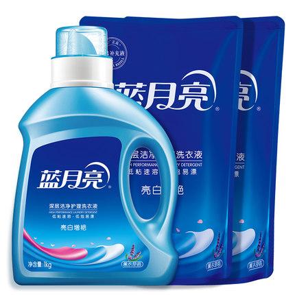 蓝月亮 超值4斤装洗衣液 亮白増艳薰衣草香:1kg瓶装+500g*2袋装