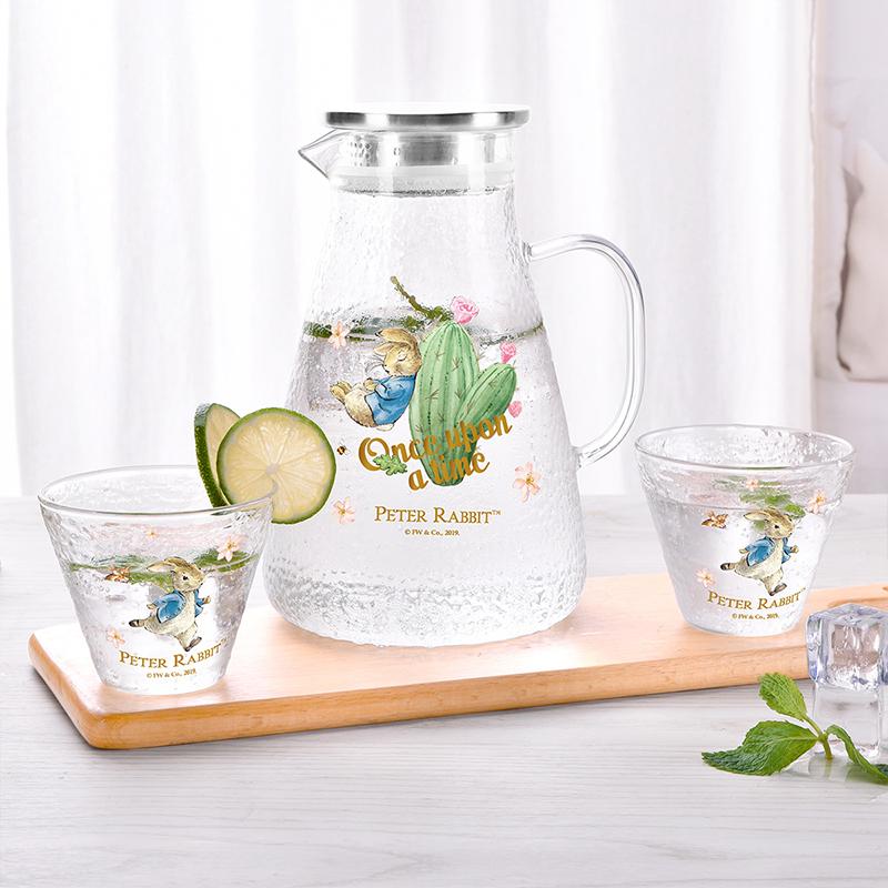 比得兔大容量高硼硅玻璃雪纹玻璃冷水壶套装带两小杯PR-T1167 透明色