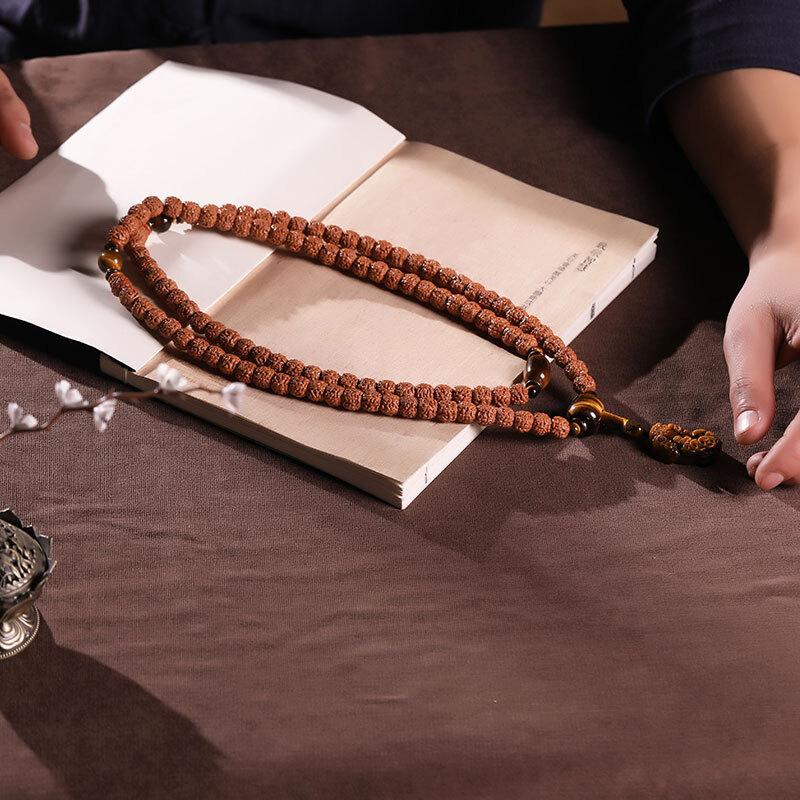 月印百川 玄武纹金刚菩提子手串108颗高密男女款貔貅佛珠手链 经年款