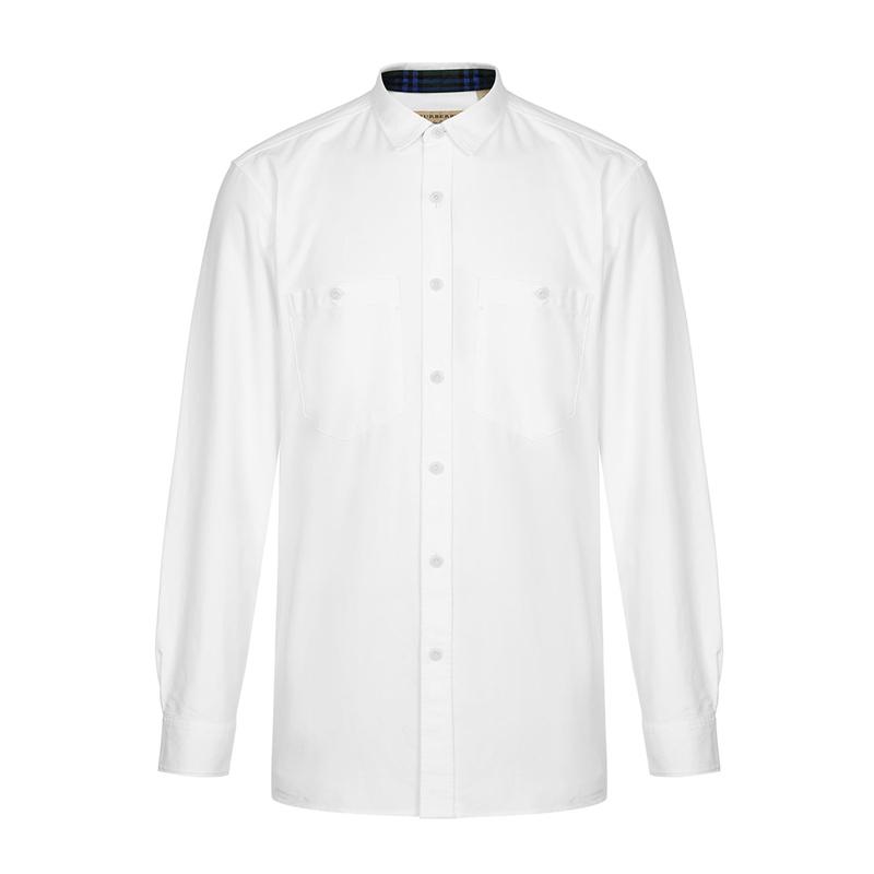 Burberry/米白色男士长袖衬衫