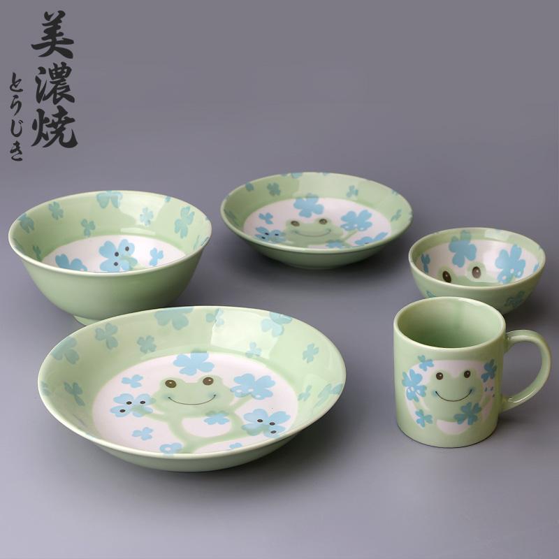 MinoYaki美濃燒日本進口卡通青蛙陶瓷碗碟盤陶瓷餐具單個