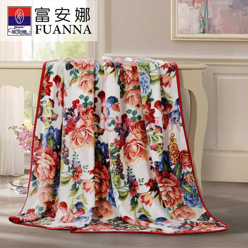 富安娜家纺毛毯 保暖毯子法兰绒毯双人盖毯被 四季毯子保暖冬天床单 倾城之魅 米白180*200cm,富安娜(FUANNA)