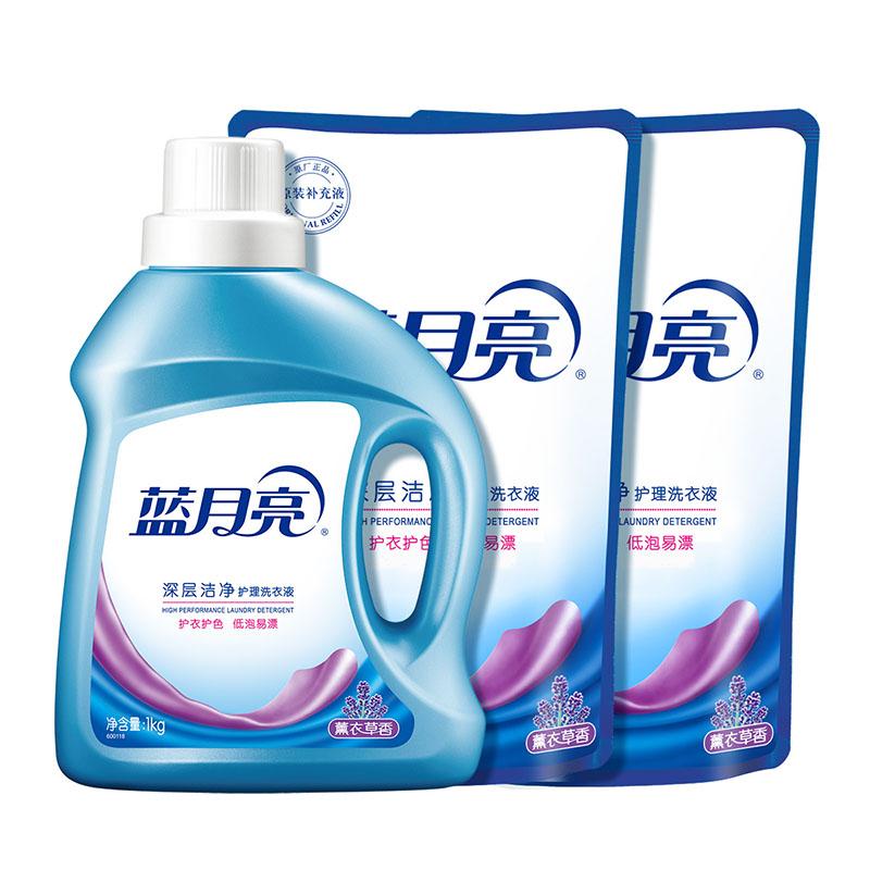 蓝月亮 深层洁净薰衣草洗衣液1kg瓶装+1kg*2袋装