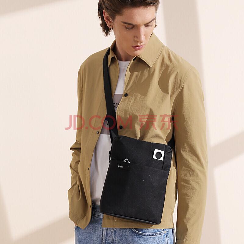 法国乐上(LEXON) 单肩包男士斜跨包苹果IPAD电脑包 平板电脑保护套时尚休闲背包 黑色,乐上(LEXON)