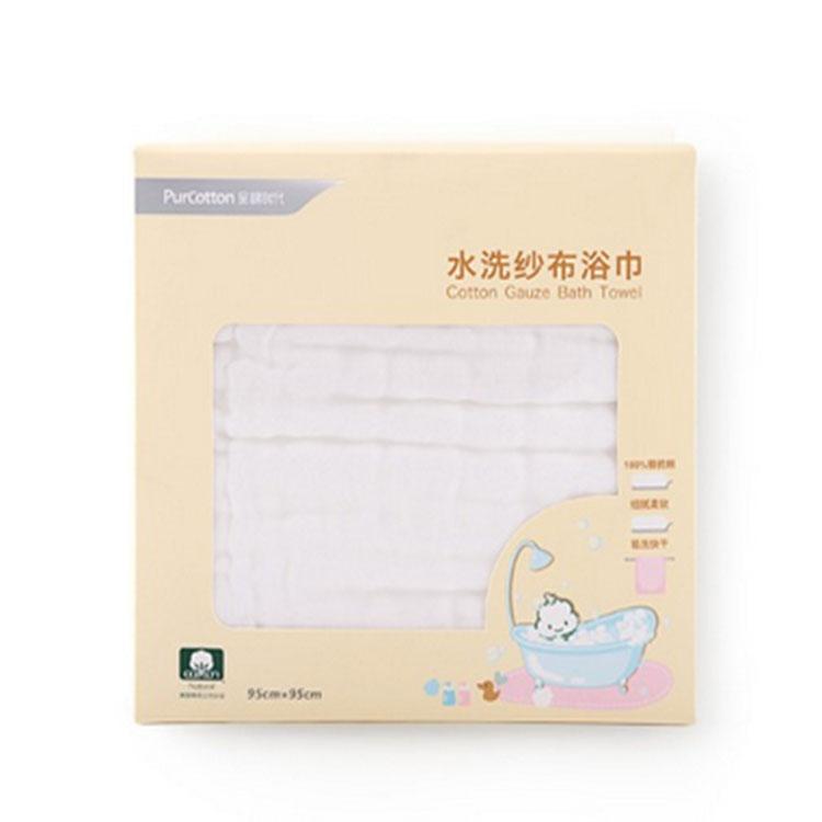 全棉时代 盒装白色精梳棉水洗纱布浴巾 800-000278-01