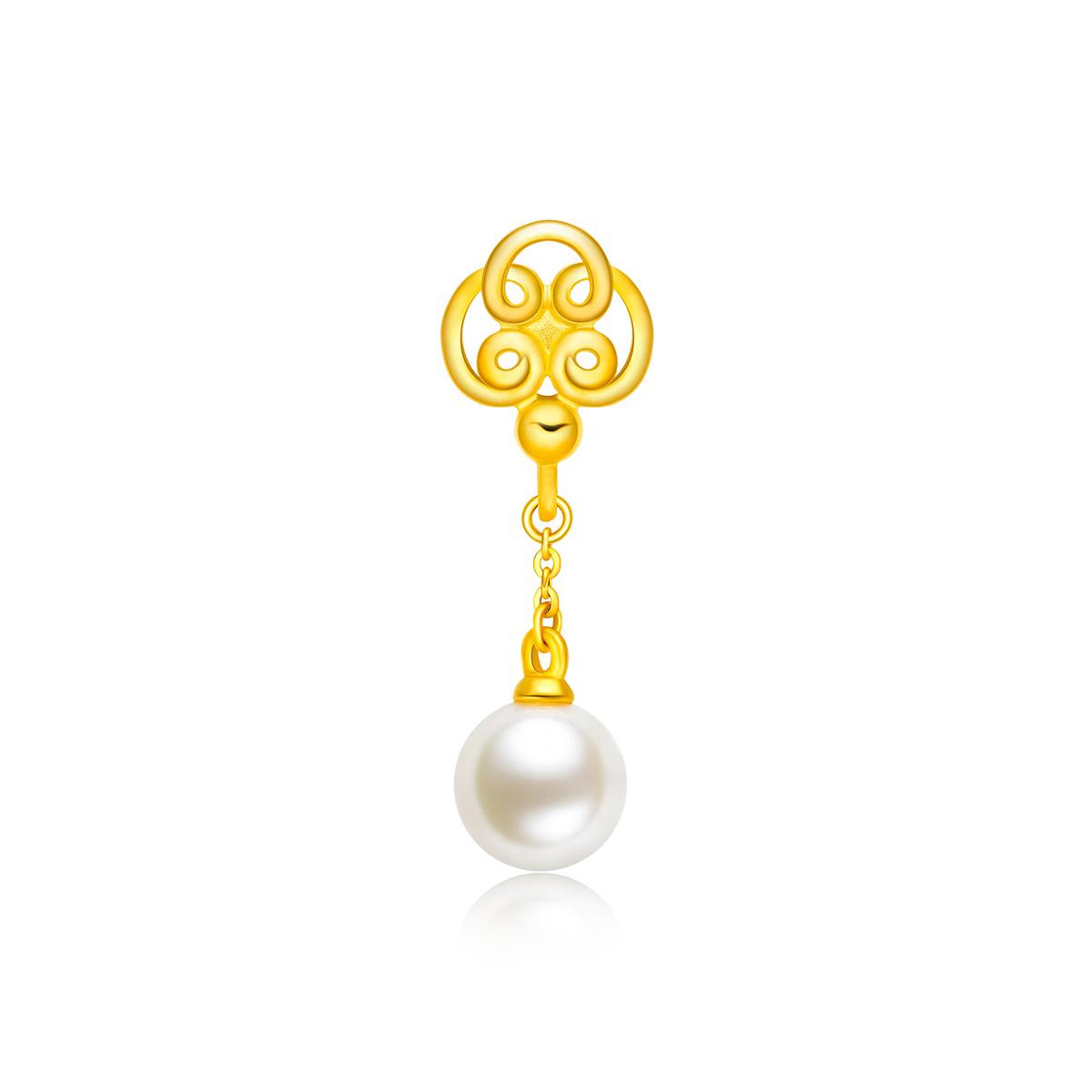 周大福盤扣系列如意扣足金黃金珍珠耳釘(單只)R23718