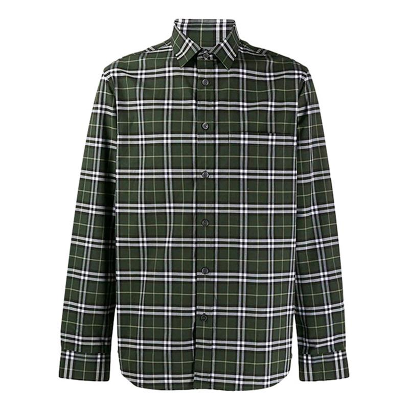 Burberry London,England/深绿格纹男士长袖衬衫