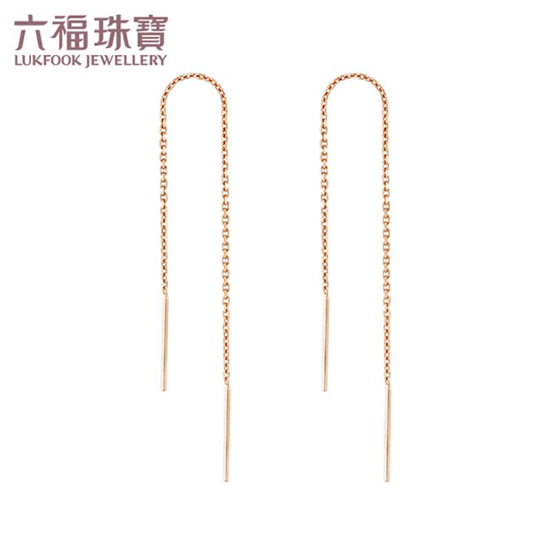 六福珠宝 18K金优雅流线耳线(定价)L18TBKE0043R