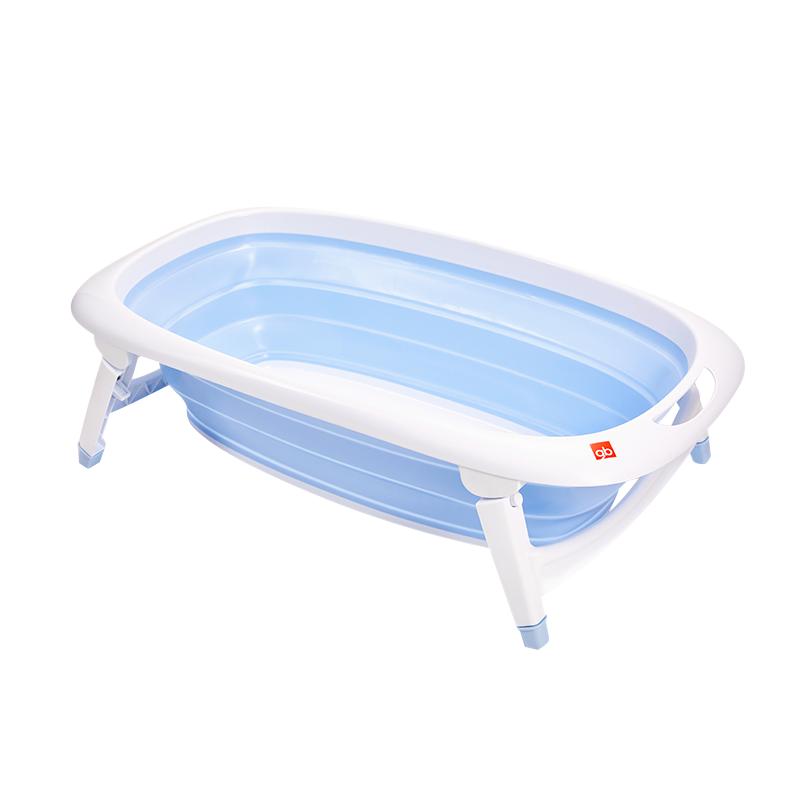 gb好孩子 婴儿浴盆 折叠浴盆 新生儿 宝宝 儿童 洗澡盆 浴桶 柔韧TPE材质 带感温水塞(蓝色)(京东特供)