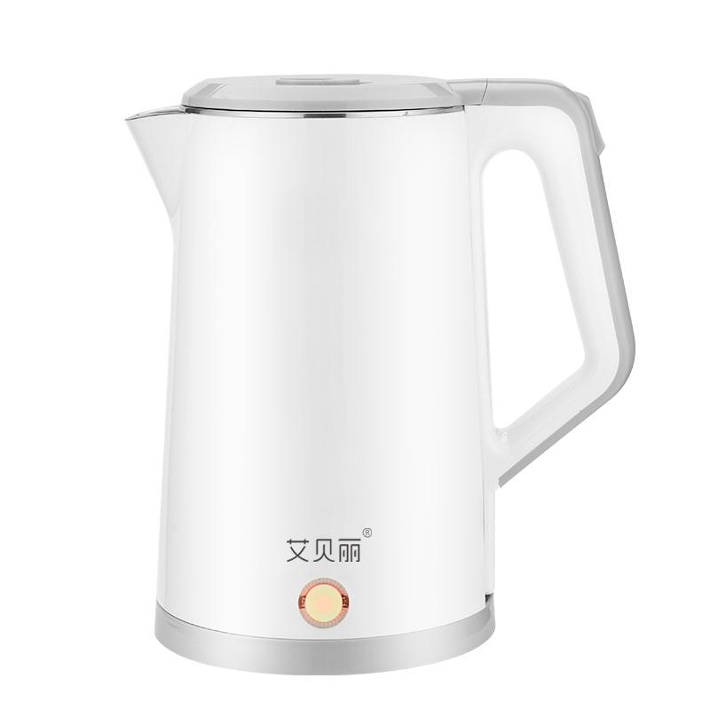艾贝丽电热水壶A203双层隔热食品级不锈钢内胆有颜值