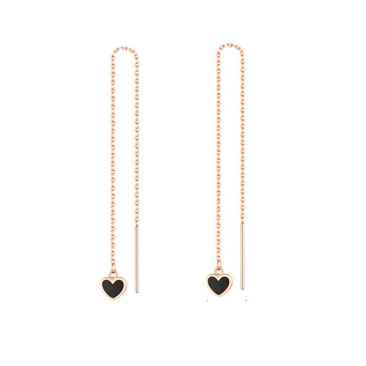 金大福新品珠宝18K玫瑰金时尚款心形镶嵌黑色玛瑙耳线KEC00043