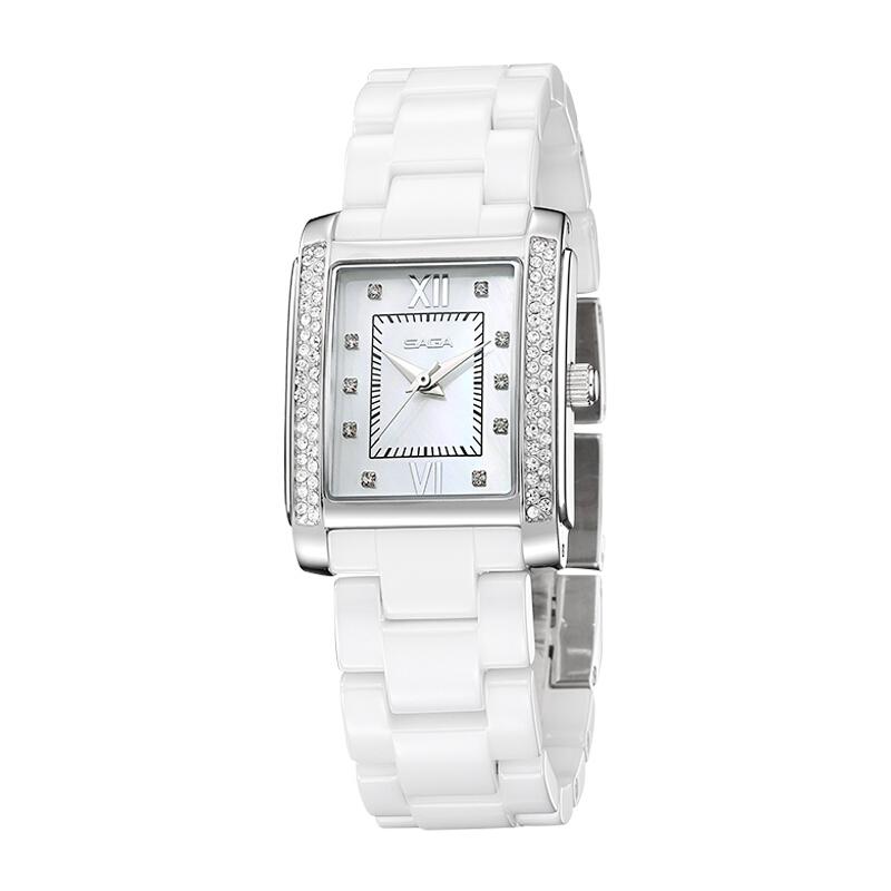 SAGA世家表 大气时尚优雅 进口石英机芯 施华洛世奇水晶元素 钢带防水陶瓷腕表