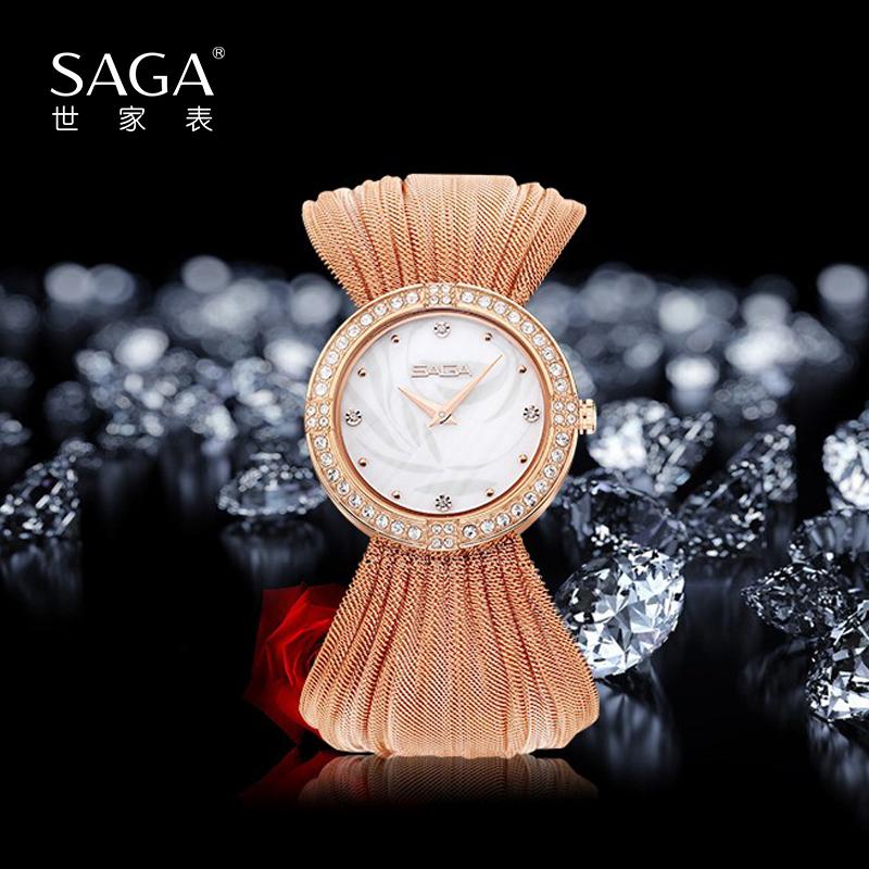 SAGA世家表星辰錦繡原簡約氣質施華洛世奇元素鑲鉆創漸變撞色寬表帶女士石英腕表手表送女友