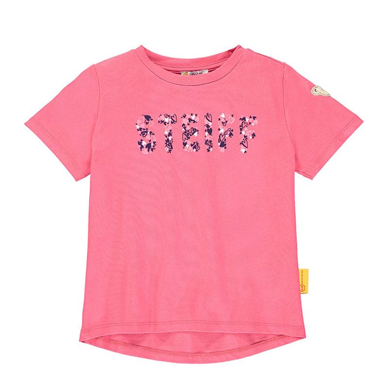 Steiff女婴针织短袖T恤 德国进口 女婴粉色短袖印花T恤 L002011314