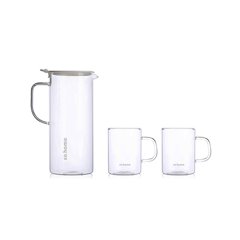 so.home白色枫杨耐热玻璃水具三件套GR150-A