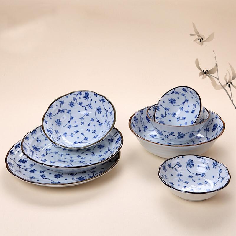 MinoYaki 美浓烧 日本进口 鹤舞唐草系列陶瓷餐具8件