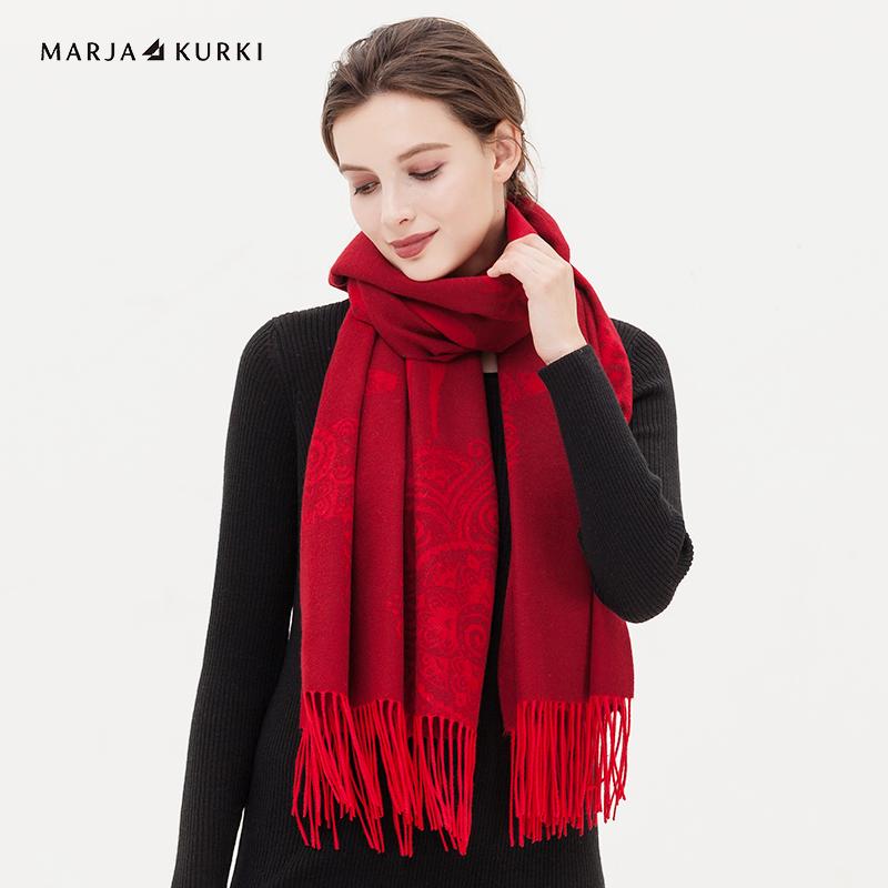 玛丽亚.古琦(MARJA KURKI)羊绒围巾女士冬季用 加厚印花围巾披肩两用 麋鹿的世界1GG154417 红