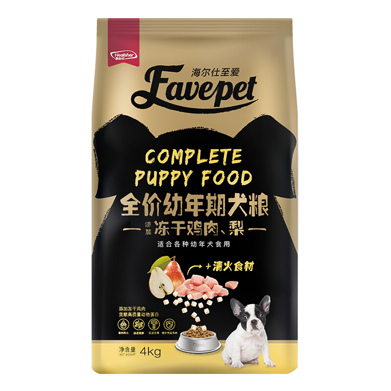 海尔仕(Healsher)至爱狗粮 冻干系列(鸡肉、梨冻干)全犬种幼犬粮-10月龄以下4kg
