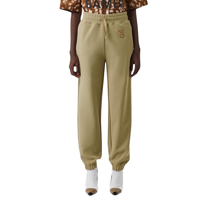 BURBERRY/巴宝莉女装 驼色BT印花字母组合图案束腿运动休闲裤 8011511