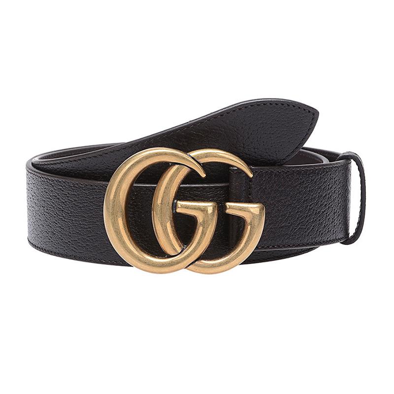 GUCCI/古驰 男士棕色牛皮GG金色金属带头扳扣式腰带406831-DJ20T-2145
