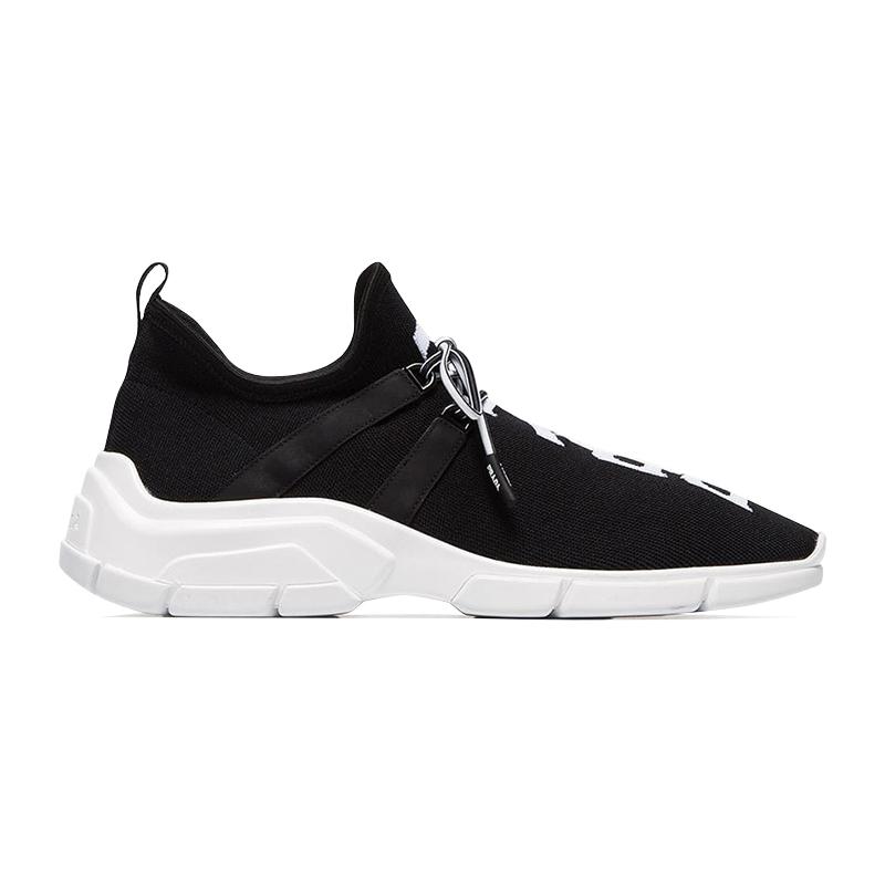 PRADA/普拉达 女士黑色针织面料饰有白色prada标志系带运动鞋