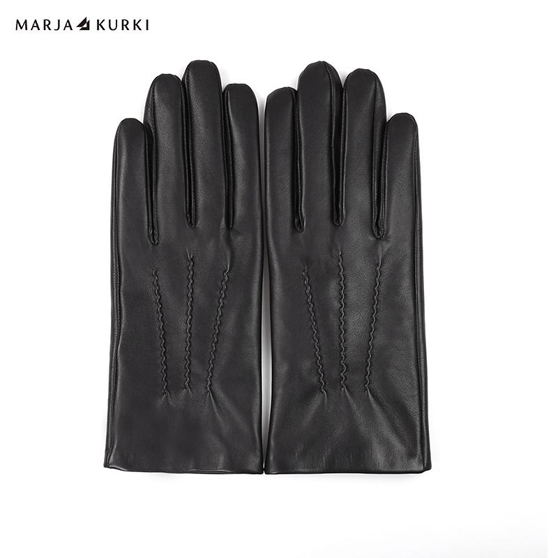 玛丽亚.古琦(MARJA KURKI)绵羊皮手套 男士冬季御寒保暖手套 尽在掌握 5II81M399黑色M