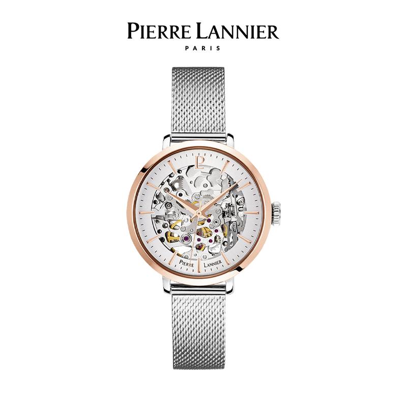 連尼亞(PIERRE LANNIER)法國PL女士自動機械手表 經典系列35mm鏤空時尚防水進口機械女表 銀色鋼帶312B628