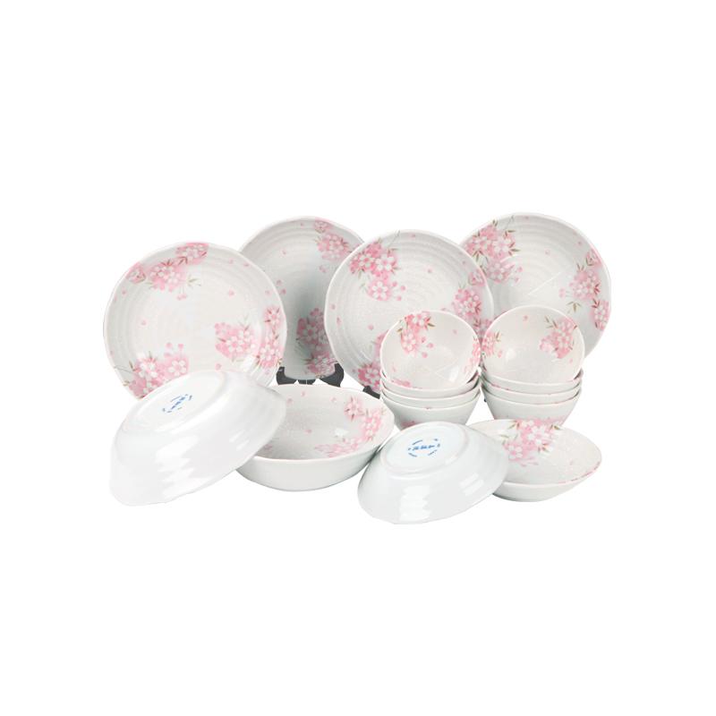 MinoYaki 美浓烧 日本进口 间取樱花餐具碗盘碟16件套装