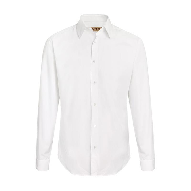 BURBERRY/博柏利 纯棉材质衣摆饰有英伦马术骑士绣标 珍珠母贝纽扣 修身剪裁棉府绸白色男士长袖衬衫 长衬