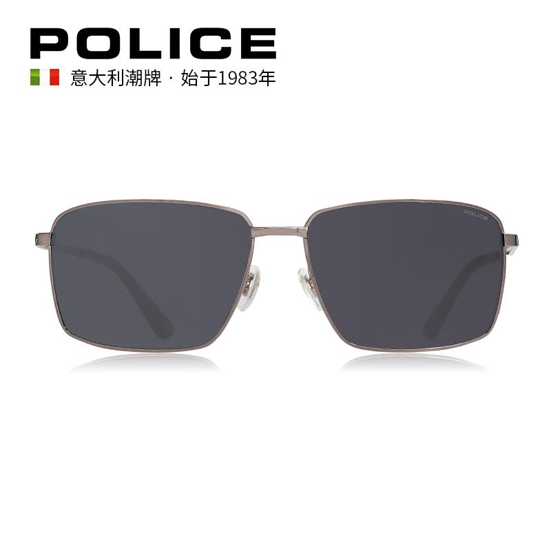 POLICE时尚大方框金属太阳镜男女墨镜SPLB89J