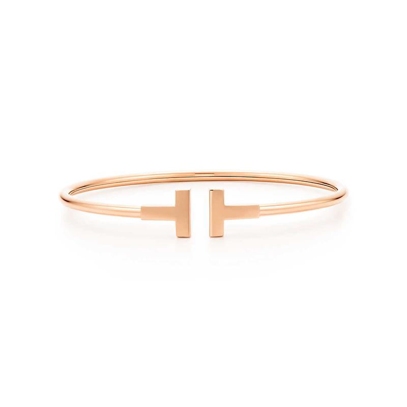 Tiffany&Co./蒂芙尼 TIFFANY T系列 玫瑰金色18K金 中号环形开口手镯 15.8cm 33419759