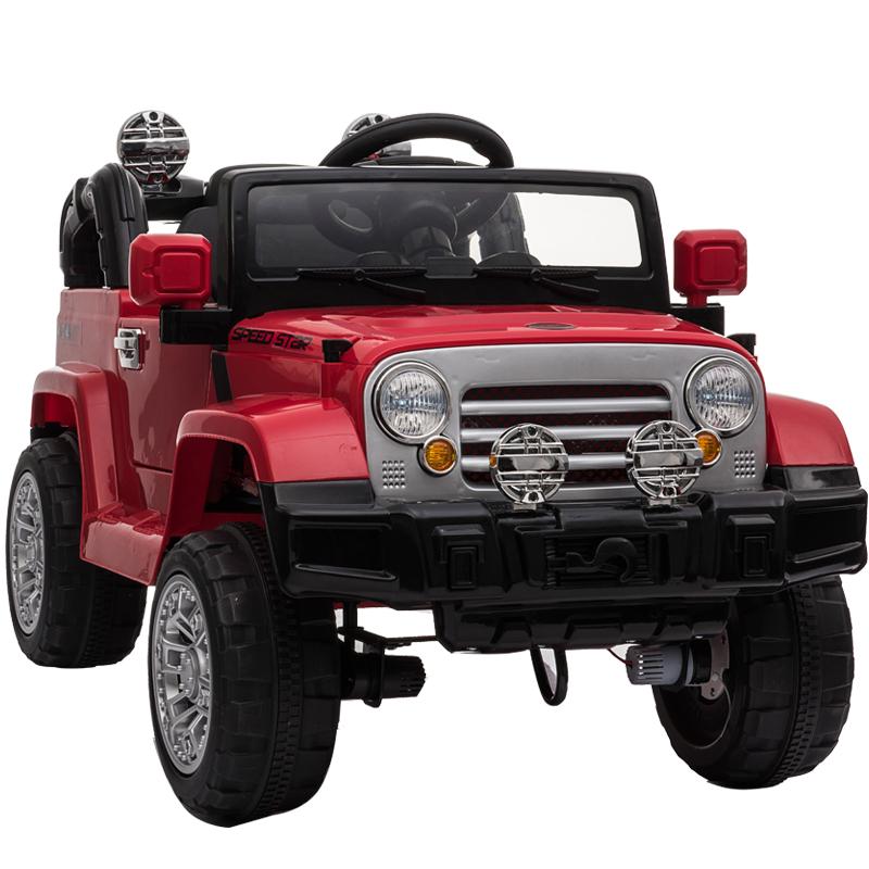 贝瑞佳 BeRica 四驱婴儿童电动车遥控越野四轮汽车男女小孩玩具车可坐人宝宝童车摇摆红色