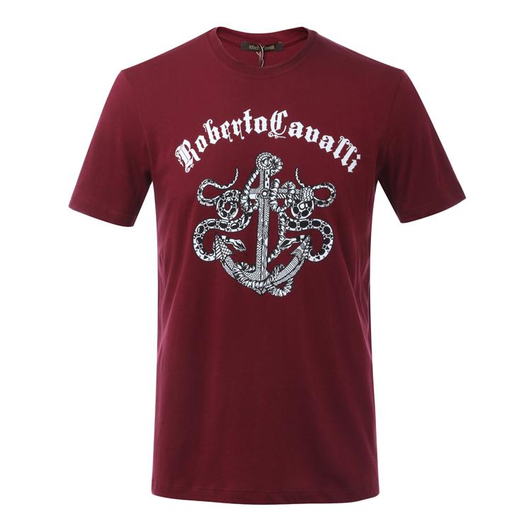 Roberto Cavalli/罗伯特·卡沃利 圆领男士短袖T恤 FST964 A#027 酒红色/黑色/白色/深蓝色