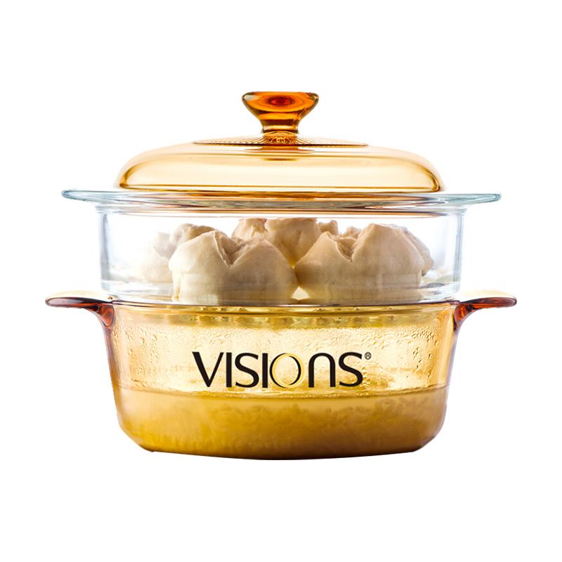 VISIONS晶彩透明鍋湯鍋2.25L(VS-22)+20cm蒸格