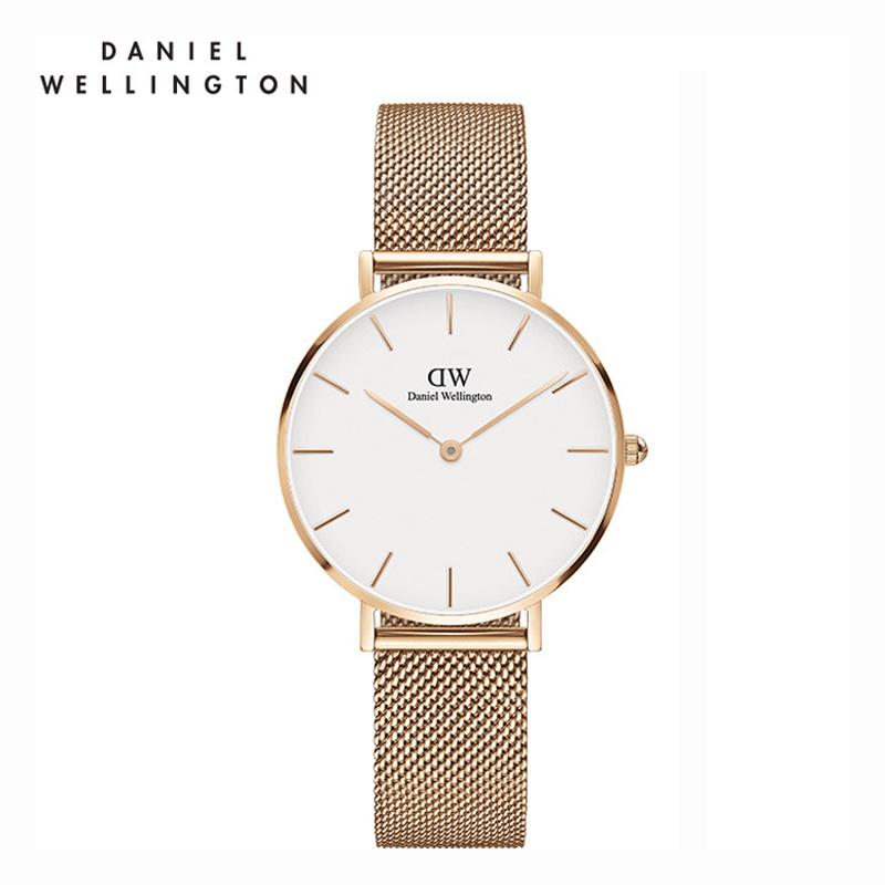DW 白盘金色边不锈钢米兰风格表带32mm手表 DW00100163