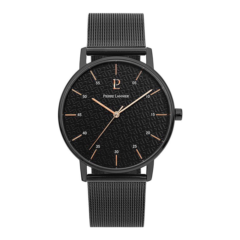 连尼亚(Pierre Lannier)男士黑色圆形不锈钢表带石英表 时尚简约中性表进口石英防水 203F438
