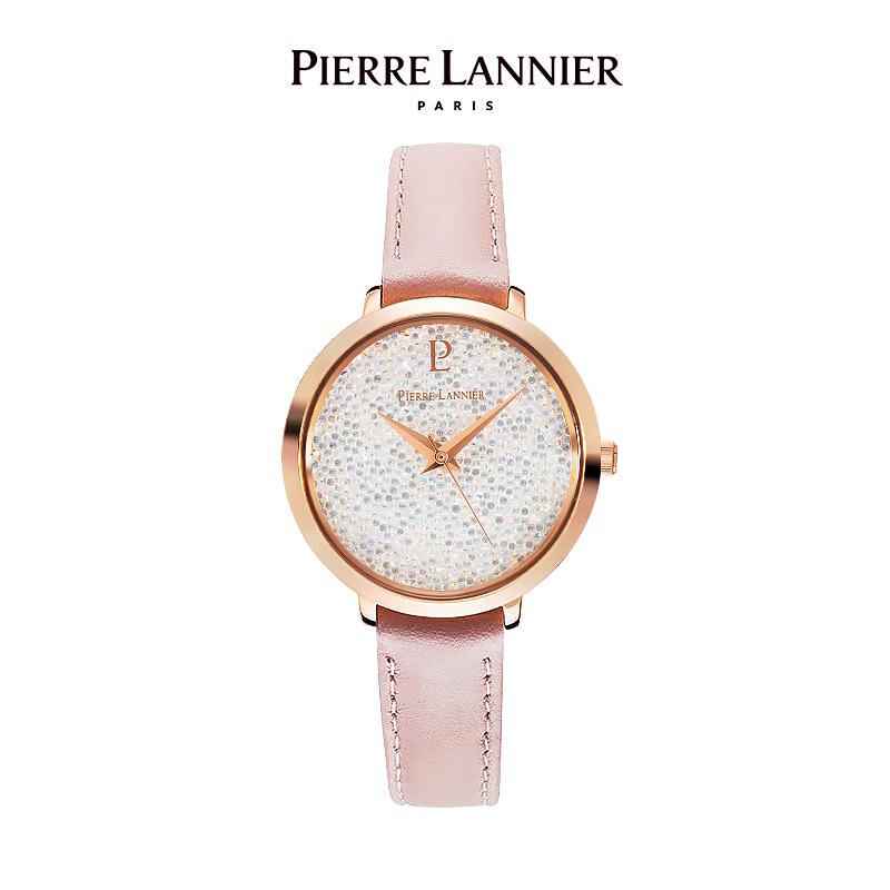 连尼亚(PIERRE LANNIER)法国进口女士满天星手表 施华洛世奇星钻系列29mm水晶表盘小众石英女表PL-105J905