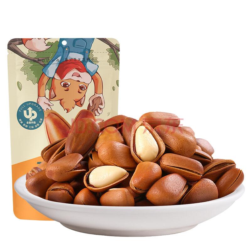 三只松鼠手剥东北开口松子 坚果炒货零食特产每日坚果100g/袋,三只松鼠(Three Squirrels)