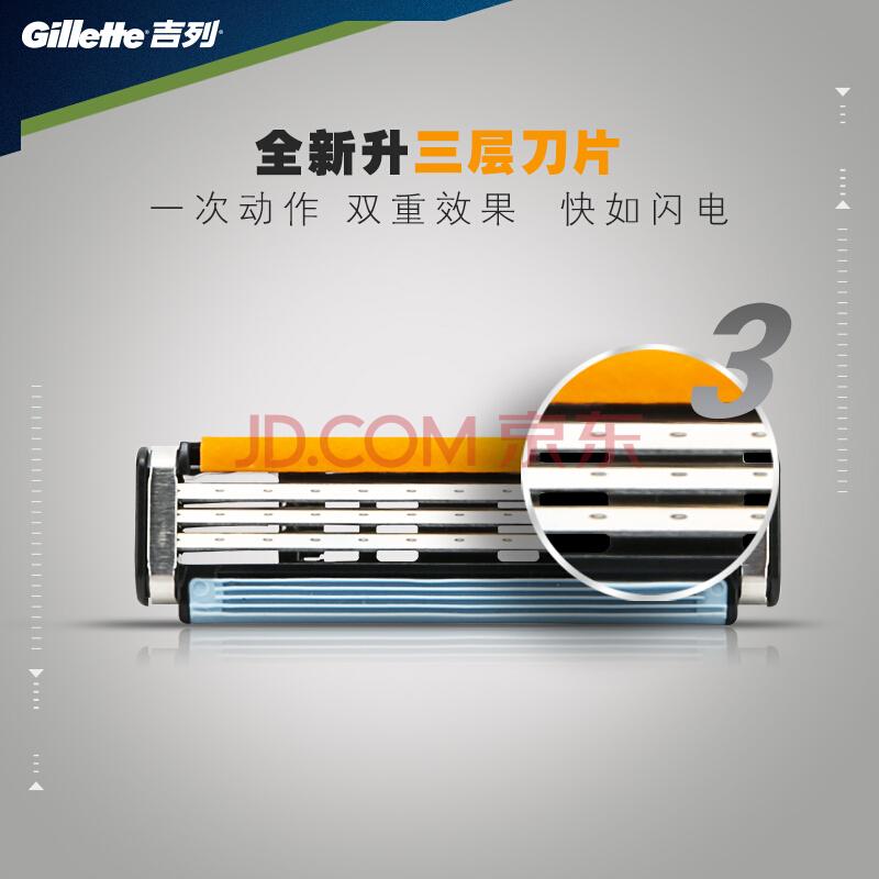 吉列(Gillette)剃须刀刮胡刀手动 吉利 威锋3(1刀架+1刀头),吉列(Gillette)