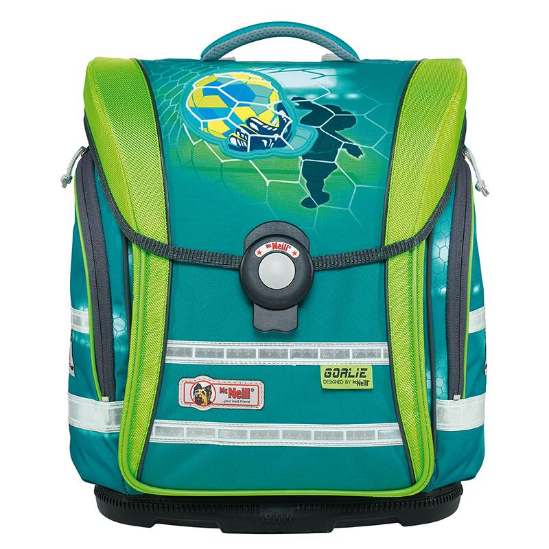 McNeill 德国进口减负护脊小学生书包 轻便儿童双肩背包四件套 绿色足球 Compact 9607174 33*38*20