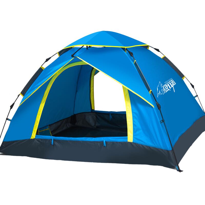 狼行者3-4人户外全自动帐篷 户外防水野营帐篷休闲帐篷 蓝色