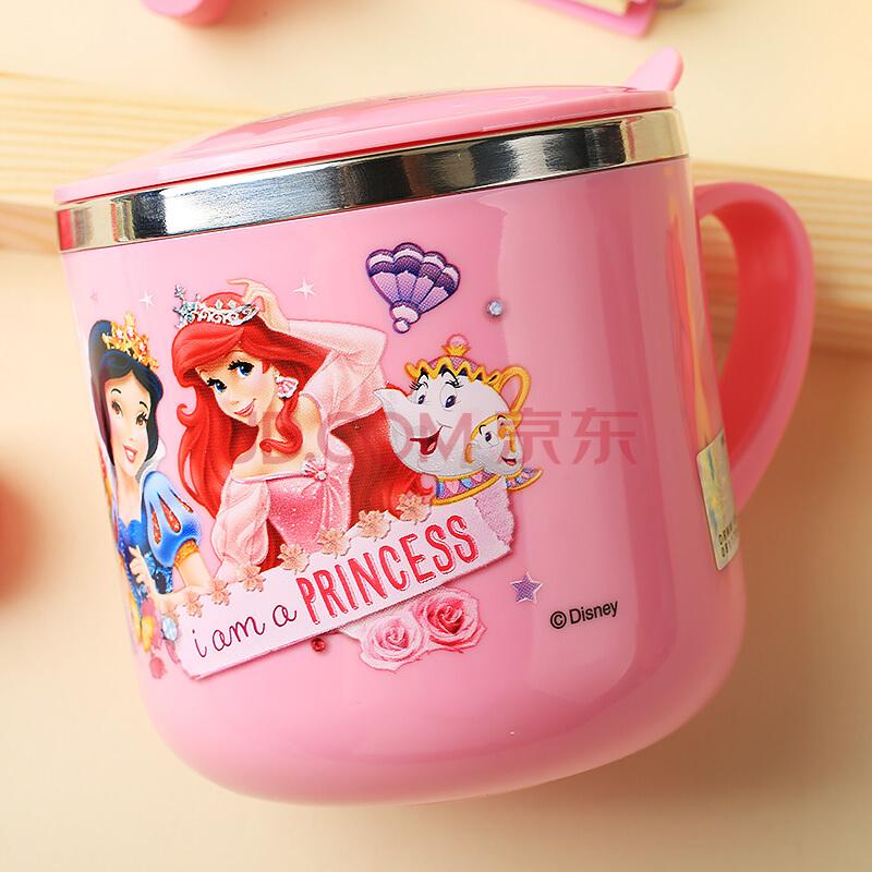 迪士尼(Disney)婴儿童保温杯 宝宝单柄训练喝水口杯子小孩家用学饮杯不锈钢带盖290ML HM1623P 公主粉,迪士尼