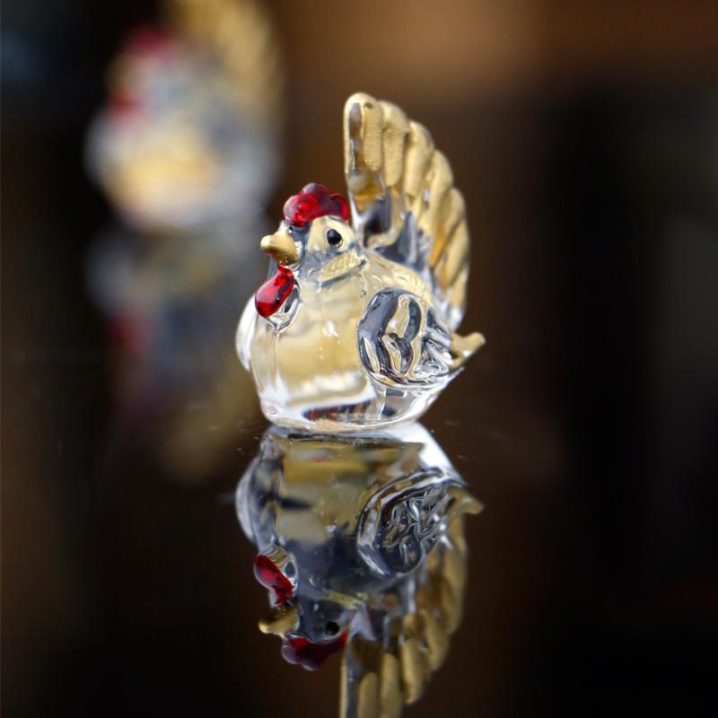 礼盒包装MinoYaki美浓烧呆萌透明可爱精美桌面玻璃摆件(鸡)