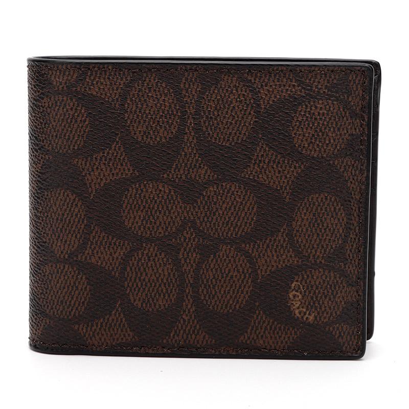 COACH 蔻驰 奢侈品 男士专柜款卡其LOGO款PVC配皮短款对折钱包74935 MAH