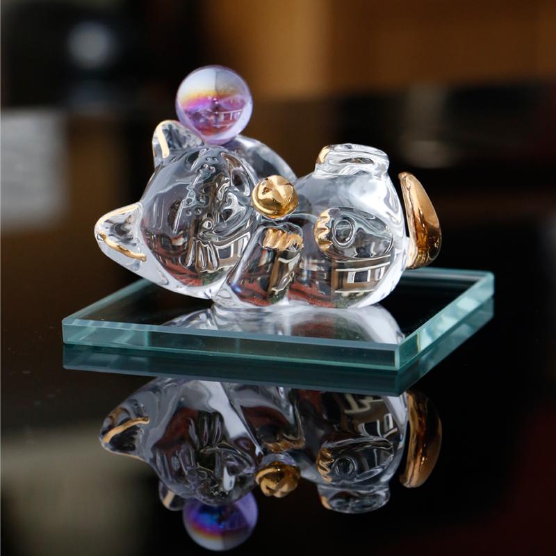 礼盒包装MinoYaki美浓烧呆萌透明可爱精美桌面玻璃摆件(招财猫)