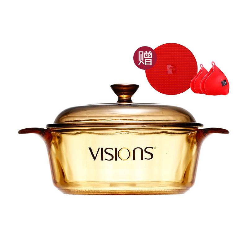 VISIONS晶彩透明鍋2.2L贈鍋墊耳套