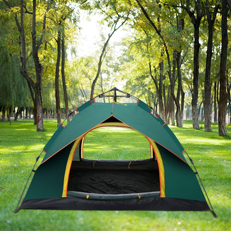 自由之舟骆驼2-3-4人户外全自动帐篷 户外防雨野营帐篷休闲帐篷套装 墨绿色