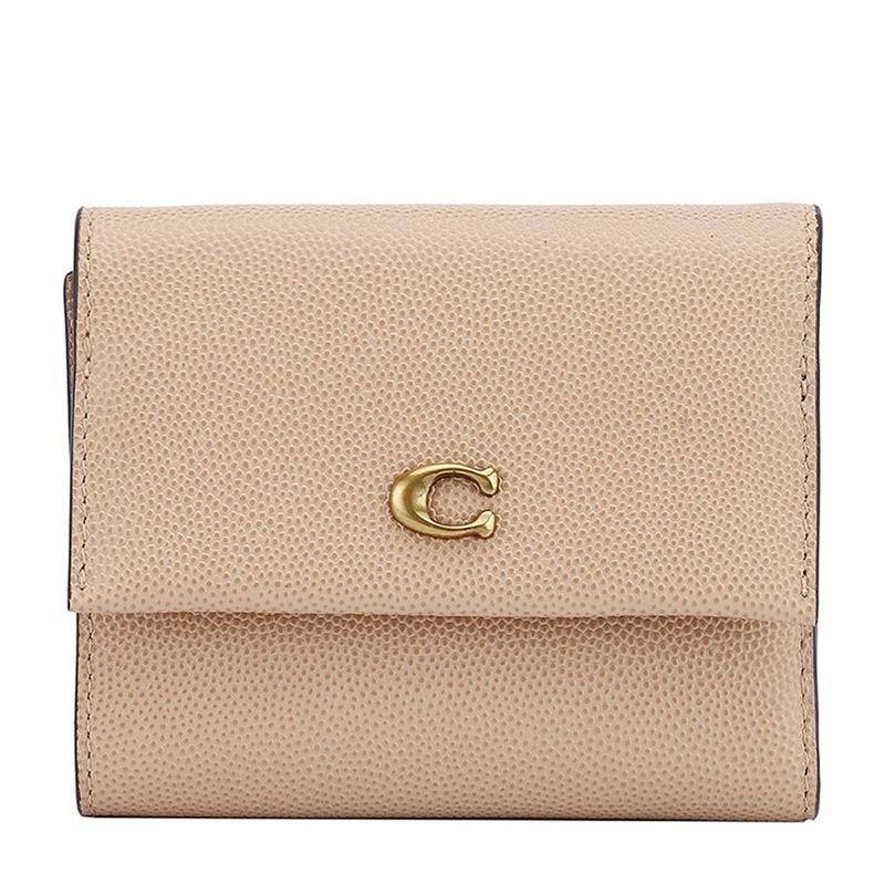 COACH 蔻驰 奢侈品 女士专柜款驼色皮革短款钱包钱夹 66571 B4EQO
