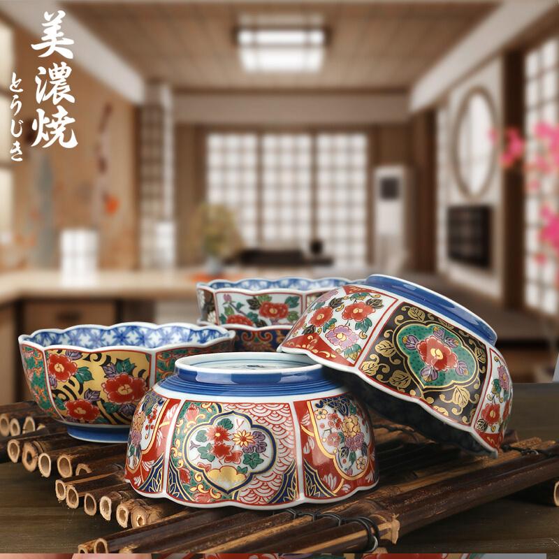 MinoYaki 美濃燒 日本進口有田窯古伊萬里碗陶瓷餐具五件套