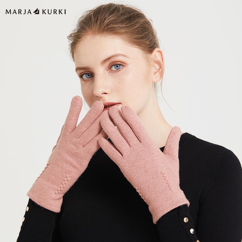 玛丽亚古琦(MARJA KURKI)纯色羊毛触屏手套女冬季保暖 尽在把握 5II360514粉色